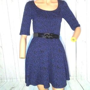 Candie's Sz S Blue Floral Belted Skater Dress NWT